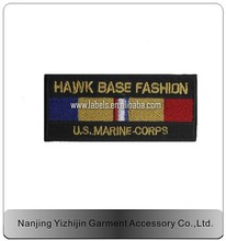 high quality custom design gold iron on embroidery rectange patch