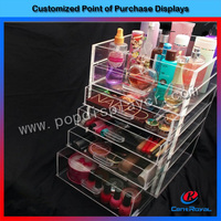 2016 Custom acrylic 6 drawer & clear makeup organizer
