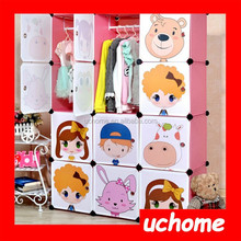 UCHOME New product easy to clean cartoon plastic modular bedroom wardrobe