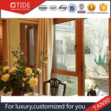Trade Assurance member double swing wood aluminum window with fixed glass,low-e glass