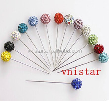 Vnistar high quality alloy crystal ball muslim head scarf stick pin & Hijab pins scarf muslim fixed safety pin VP002