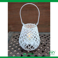 PE rattan wooden candle holder with glass tube inside