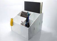 White Acrylic Desktop Pen and Accessories Holder