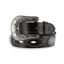 Women's Round antique conchos Cut-Out Leather Belt
