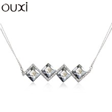 OUXI fashion 925 sterling Silver&diamond necklace/silver jewelry cystals from Swarovski Y10005