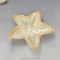 decorative Chinese star shape gold gilt edged ceramic fruit plate