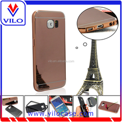 factory wholesales aluminum bumper leather case for samsung galaxy S6