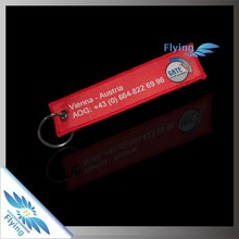 good cheap durable embroidered customized remove before flight key tag