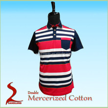 mens polo collar striped t shirt And double mercerized 100% Long staple cotton polo shirt