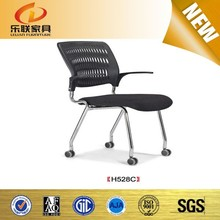 Cheap office leisure chair without wheels plastic arm mesh chair