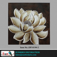 Digital oil painting Hand painted big flower with silver on golden background flower canvas painting