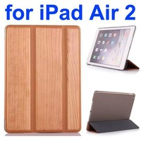 3 Folding Pattern Wood Texture Flip Leather Case for iPad Air 2