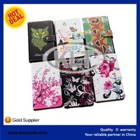 for iphone6 leather case 4.7inch PU flip book case customize printing with small MOQ at wholesale price