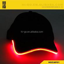 popular led light up glowing cap optical fiber glowing club sport christmas hat