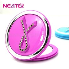 New design hot selling jewel on the top make up plastic hand mirror,small cosmetic mirror