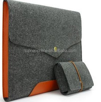 "For 13"" Laptop gray Felt Case Real Leather Bottom Bag Magnetic Button Sleeve"