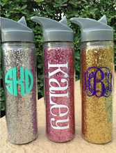 Glitter Insulated Hot/Cold Tumbler, Personalized glitter water bottle, 20oz plastic water bottle with glitter paper insert