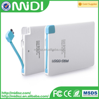 Custom Logo Credit Card Portable Mini Power Bank 4000mah with USB Built-in Data Line