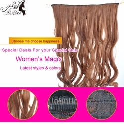 New products kanekalon five piece black clips in hair extensions