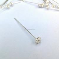 H1374 Silver 925 Jewelry Making DIY Flower Head Pin 0.5*50mm
