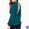 online wholesale shop elegant blouses long sleeve royal blue shirt high neck women blouse