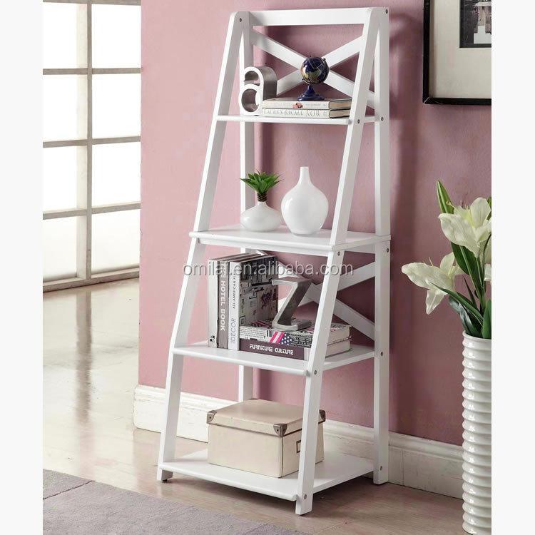white ladder shelf book leaning bookcase bookshelf storage decor rack wall stand buy white. Black Bedroom Furniture Sets. Home Design Ideas