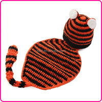 Baby Hand Knitted Costume Baby Hats,Crochet Tiger Beanie and Cape Photo Props