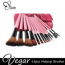 15pcs pink Snake pattern Portable makeup brushes