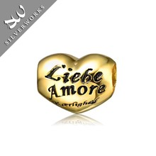Love Shaped Silver 925 Engravable Yellow Gold Plated Heart Charm bead
