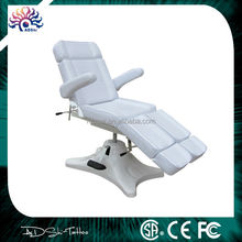 2015 New cheap massage chair, professional black white leather tattoo bed, adjustable swing legs soft tattoo chair
