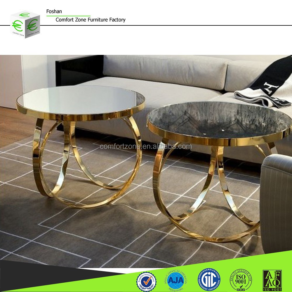 Glass Coffee Table With Stainless Steel Legs: Cn8001 Gold Stainless Steel Legs Tempered Glass Coffee