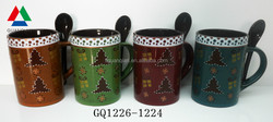 390ml ceramic coffee mugs with print christmas design and spoon for gift