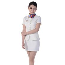 De moda para mujer del verano del Hotel uniforme diseño de la corto manga de la chaqueta gestor de la falda de Hotel uniforme para recepcionista uniformes WS599