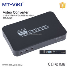 Factory supply Usb / VGA / AV /Ypbpr to HDMI converter , HDMI video converter support 4 video format input MT-PC401