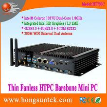 HT730C Intel celeron 1037U 1.8G Dual core 1080p Fanless industrial mini box pc with dual lan,vga,rs232 and wifi