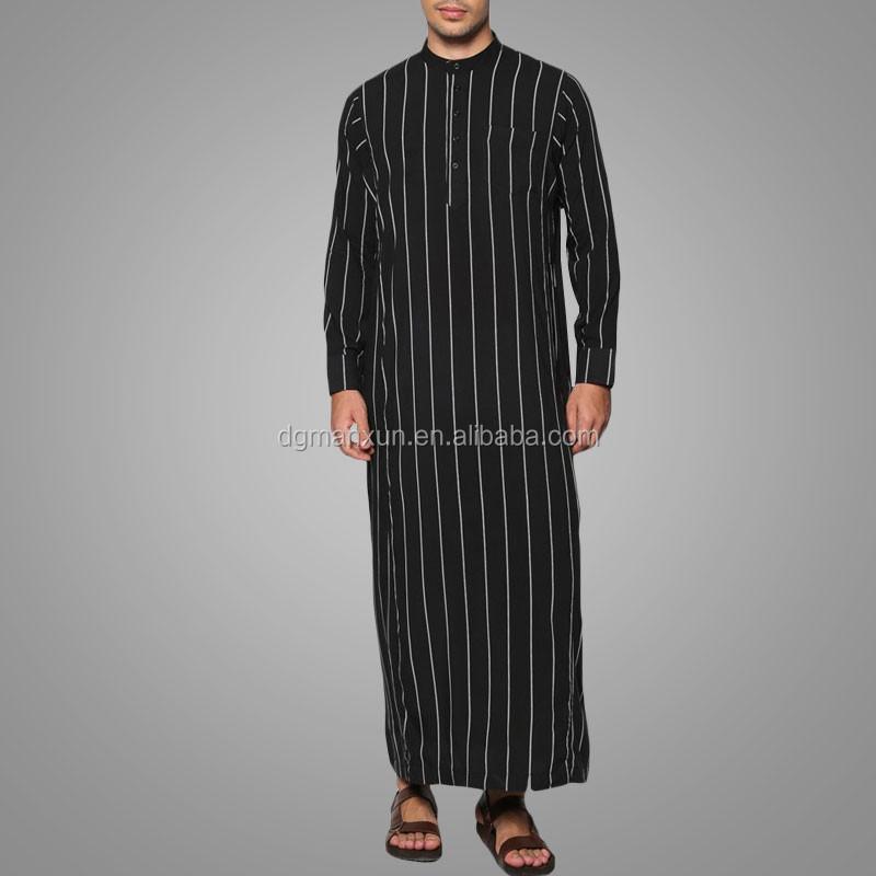 Modern ethnic simple design striped men jubah men islamic clothing