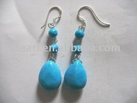 raindrop blue natural turquoise earring with sterling 925 silver hook