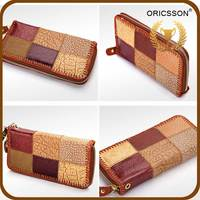 Wholesale Brown Plaid Cheap High Quality Leather Women Wallet Purses