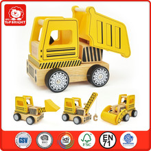2015 hot product DIY learning toys yellow color construction vehiclesset 5 pcs kids toy wooden toy truck confirm to EN71