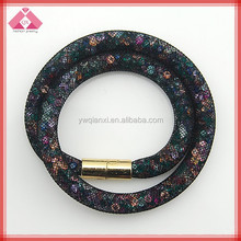 Hot new fashion mesh crystal stardust magnetic bracelet(QXBR150025)