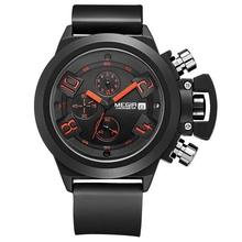 MEGIR Brand Watch men's japan movt quartz watch stainless steel back Multifunction calendar chronograph watch