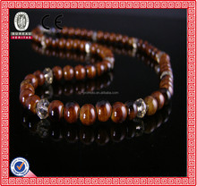beautiful brown red white long round beads