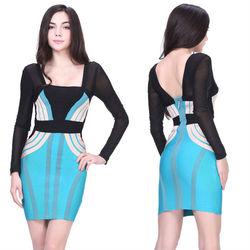 New fashion design dresses long sleeve popular evening party dress school girls sex photo
