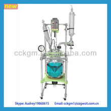 5L Pilot Double Jacketed Reduced Pressure Borosilicate Glass Reactor With Reflux Unit And Condenser