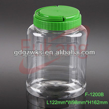 1200ml transparent oval shape plastic container with lid,PET food grade container on sale