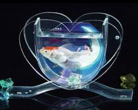 clear heart shaped acrylic aquarium fish bowl led lights