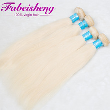 Alibaba wholesale Human Hair Extensions 3 Pcs/lot Brazilian Virgin Hair straight blonde 613 color hair