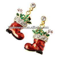 Christmas Jewelry Red Sock Presents Crystal Charm Earrings