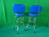 High seat double ring bar stool with back