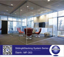 Stainless Steel Frameless Sliding and Stacking Folding Door, Movable Glass Partition System